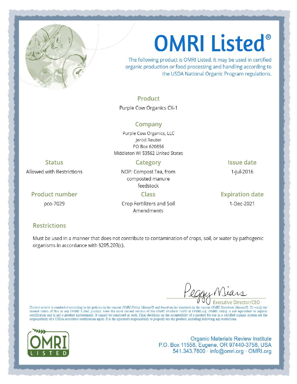 CX1 Liquid Organic Fertilizer - Purple Cow Organics