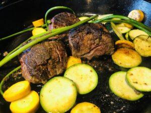 steak with granulated garlic and smoked salt